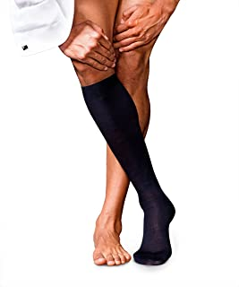 FALKE 男式 No. 6 优质美利奴羊毛和丝绸及膝高筒袜 - 羊毛/丝绸混纺,多种颜色,英国尺码 5.5-11 (欧码 39-46),1 对 - 奢华面料,调节温度,非常适合商务外观