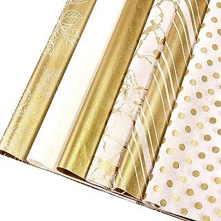 Whaline 120 件金色纸巾纸 6 种风格礼品包装纸散装礼品包装配件工艺纸装饰纸艺术纸巾家庭厨房生日派对