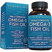 Viva Naturals Omega 3鱼油-Omega 3补充剂,具有EPA和DHA的必需脂肪酸组合,三倍力野生鱼油…
