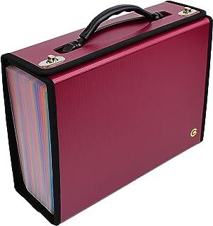 CNK 手风琴文件收纳包 24 个口袋可扩展文件文件夹 适用于信件 A4 文件盒 耐用手柄 适用于商务、办公室、学校家庭 - 酒红色带彩色口袋
