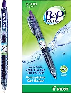 PILOT B2P - 瓶装到笔可填充和可伸缩滚珠中性笔由回收瓶制成,精细笔尖,紫色 G2 墨水,12 支装 (31622)