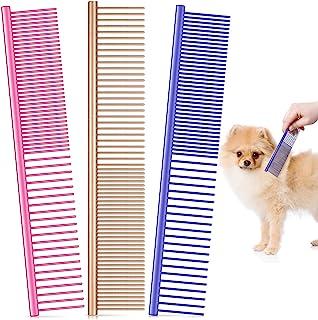 3 件宠物钢梳,宠物狗猫梳,多色狗梳,带不锈钢齿,用于去除长毛和短毛狗的缠绕和结,7.5 x 1.3 英寸(金色、粉色、紫色)
