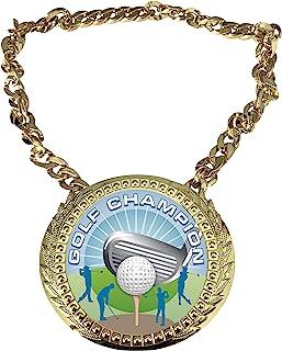 Express Medals 高尔夫冠军链*杯,带中心斑块,尺寸为 15.24 x 13.32 厘米,包括一条 86.26 厘米链子和黑色天鹅绒礼品袋。