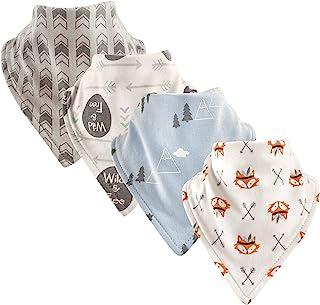 Luvable Friends 基本款棉质 bandana 围兜,4件装