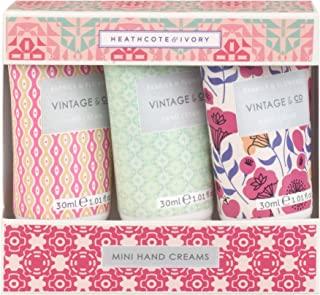 Heathcote & Ivory Vintage&Co 织物和花朵迷你护手霜,30 ml, 3件