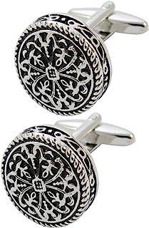 COLLAR AND CUFFS LONDON - 优质袖扣 带礼盒 - 仿古风格凯尔特设计 - 黄铜 - 圆形十字设计 - 直径 20mm - 银色和黑色