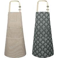 JOYPEA 棉质亚麻烹饪围裙防水可调节 2 件装厨房围裙