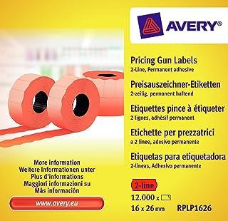 AVERY Zweckform RPLP1626 价格标签(12000 件,2 行,16 x 26 毫米)10 卷 红色