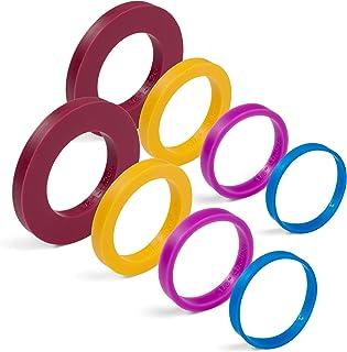 GreenOlive 卷发针导轨环垫圈(8 件套装)多色弹性硅胶一脚蹬式烘焙配件适合 4.45 厘米至 5.08 厘米宽的面团滚筒
