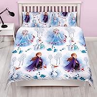 冰雪奇缘 2 官方迪士尼双人安娜和艾尔莎设计双面床上用品被套带配套枕套,白色
