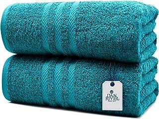 DAN RIVER * 纯棉浴巾 2 件套   柔软浴巾   超大浴巾  快干浴巾   吸水浴巾   浴巾 SPA 酒店  蓝*浴巾套装   35x70 英寸   550 GSM
