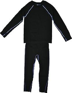 Live Xtreme 男童 2 件套。 黑色保暖长款内衣套装 w/拇指孔