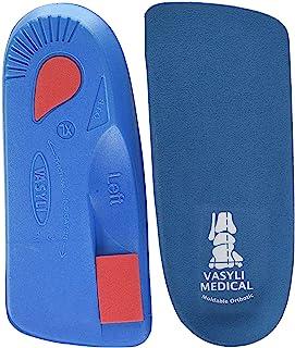 Vasyli 定制 3/4 长度鞋垫,蓝色,XS 码,快速有效缓解*,定制生物力学对齐,中等*,一般矫正需求,日常步行鞋,热模