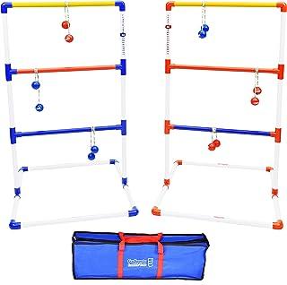 GoSports 高级梯子投掷户外游戏套装,带 6 个波洛球、旅行携带箱和计分追踪器 - 在标准和巨型尺寸之间进行选择