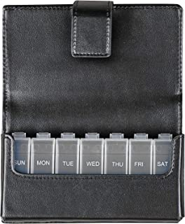 HealthSmart 时尚旅行药盒 7 天药丸收纳盒,黑色