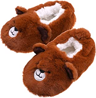SDBING 幼儿男童女孩可爱卡通鲨鱼鞋柔软防滑冬季家居拖鞋(12-18 个月,棕色熊)