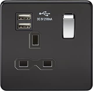 Knightsbridge SFR9901MB 无螺丝 13A 1G 开关插座,带双 USB 充电器 - 哑光黑 W/镀铬摇杆