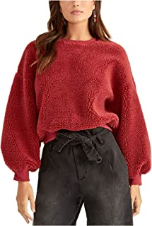 Rachel Roy 女式红色羊毛长袖圆领 T 恤毛衣红木 M 码