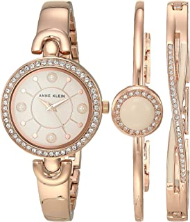 Anne Klein Women's Swarovski Crystal Accented Watch and Bracelet Set