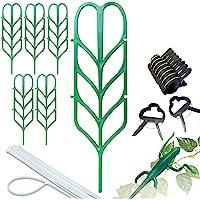 PeerBasics 室内植物架套装,6 个登山花园叶形状支架,10 个大花杆环夹,10 个大花杆环夹,10 个拉链绳…
