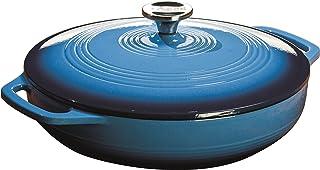 Lodge 珐琅铸铁带盖砂锅,加勒比蓝, 3.6夸脱(约3.41升)