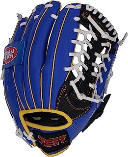 ZETT 少年棒球 软式 手套 全能型 初学者用 带减震垫 10/10.5英寸 蓝色×黄色/黑色 右/左投用