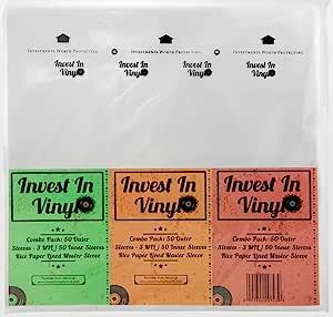100 密纹唱片套组合装(50 3 密耳外和 50 主内套)33 RPM 12 英寸黑胶唱片套为您的密纹唱片系列提供适当的保护 - 投资乙烯基