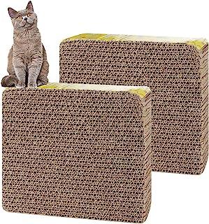 H&R 猫抓板纸板 2 件,网眼设计纸猫纸板直型 猫抓板休息室,猫抓猫玩具沙发床瓦楞纸护理爪抓抓板
