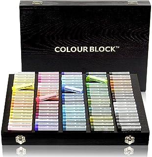 彩色块软粉彩艺术套装,100 色正方形粉笔蜡艺术用品整齐存放在豪华木盒中