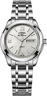 Rotary 男士石英手表米白色表盘模拟显示银色不锈钢表链 GB90173/06