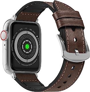 MARGE PLUS 兼容苹果手表表带 40 毫米 38 毫米 防汗混合真皮和硅胶运动手表表带替换适用于 iWatch SE 系列 6 5 4 3 2 1,深棕色 / 银色