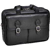 McKlein,L 系列,海德公园,*牛皮皮革,15 英寸(约 38.1 厘米)皮革双隔层笔记本电脑公文包,黑色(157…