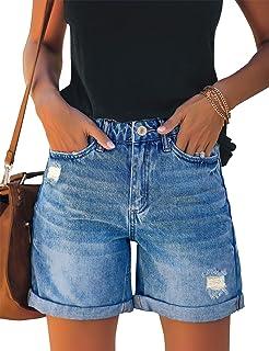 LookbookStore 女式高腰破洞牛仔短裤卷边仿旧弹力牛仔裤 蓝色 M 码