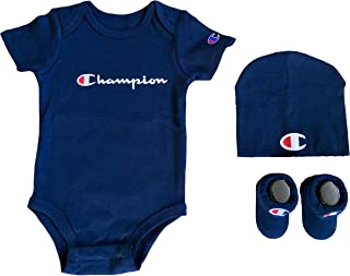 Champion 男婴 3 件套盒装套装包括紧身衣、围兜或帽子和短靴