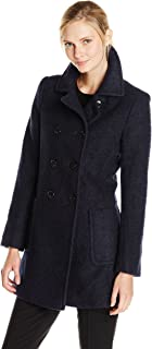 T Tahari 女士双排扣羊毛混纺仿羔皮大衣