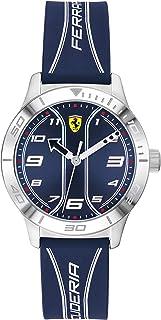 Ferrari 法拉利 男童 Academy 不锈钢石英手表,带硅胶表带,蓝色,16(型号:0810026)