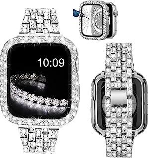 V-MORO 手链兼容系列 6 Apple Watch 表带 44 毫米带屏幕保护膜外壳、珠宝闪亮钻石金属表带和全保护套保护套,适用于 iWatch 系列 SE/5/4 44 毫米女式银色