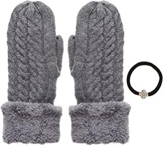 女式冬季保暖有线针织手套带发带。