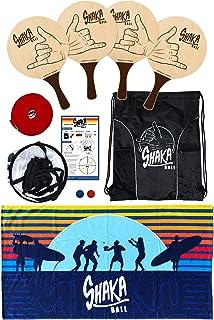 Shaka Ball 游戏套装 – 户外多人掌拍游戏,包括全场、4 个桨、2 个球、携带背包和规则,适合所有年龄段