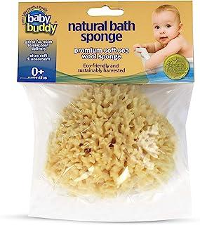 Baby Buddy 天然婴儿沐浴海绵 10.16 cm 超柔软优质海羊毛海绵,柔软呵护宝宝娇嫩肌肤,可生物降解,低*性,吸水性天然海绵 棕色 1包