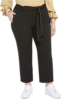Bar III 女式黑色束带条纹直筒裤尺码 14W