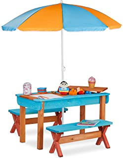 Relaxdays 儿童座椅组 花园,木质,游戏桌套装,桌面,2 x 座椅和遮阳伞,户外儿童家具,彩色