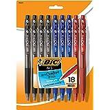 BIC BU3 可伸缩圆珠笔,中点(1.0 毫米),各种颜色,18 支装 18-Count 多种颜色