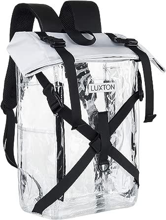 Luxton 家用透明背包 - 耐用的学校和体育场兼容包 - 带 6 个透明口袋 - 用于学校、音乐会、重型书包