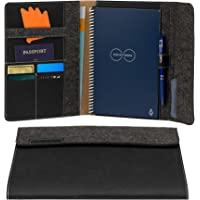 Rocketbook 智能笔记本对开保护套 - * 可回收、可生物降解的封面带笔架、磁性扣和内部存储 - 深色物质黑色…