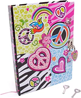 Hot Focus Peace Secret 日记 带锁 – 7 英寸(约 17.8 厘米)日记本 300 页双面横格页 挂锁和两个钥匙 适合儿童