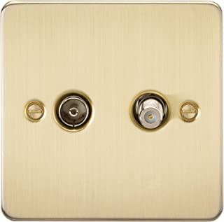 Knightsbridge FP0140BB 拉丝黄铜 FPAV0140BB 平面电视和卫星电视插座(隔离)