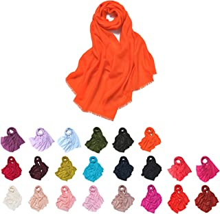 "Queenie - 1 件纯色柔软女式围巾和披肩 * 羔羊毛围巾披巾 60 x 200 厘米 /23.5"" x 75.5"" 有 22 种颜色可选"