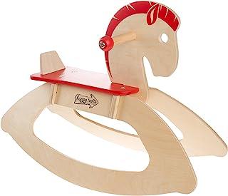 Hey!Play! 80-JR108 摇马骑乘玩具儿童经典木质摇杆 - 有助于培养力量、平衡和协调性 - 适合男孩和女孩,木质