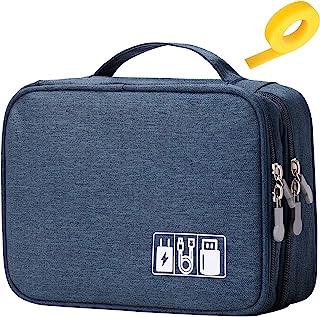 Mairle 防水旅行绳电缆收纳盒,便携式电子配件收纳袋,储物箱(深蓝色